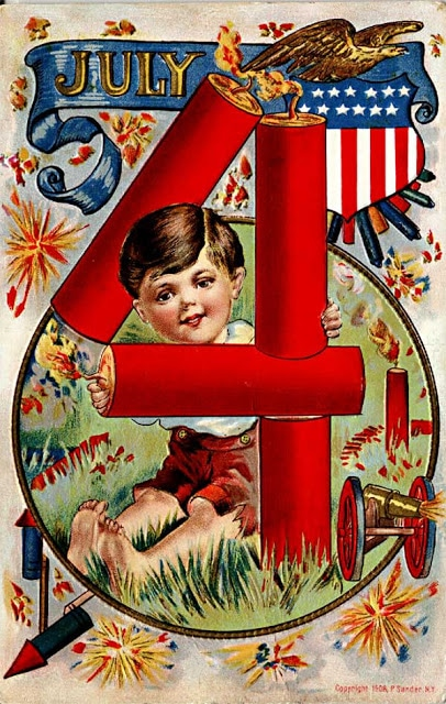 Vintage 4th of July postcard image - boy with firecrackers