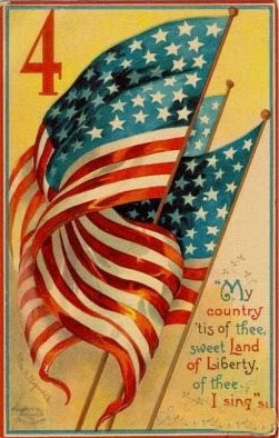 Vintage 4th of July postcard image - flags on postcard