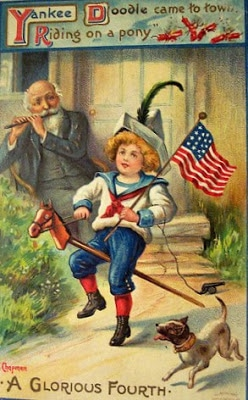 Vintage 4th of July postcard image - Yankee Doodle