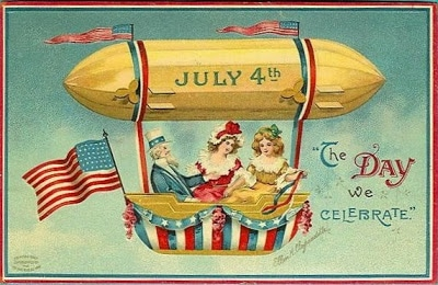 Vintage 4th of July postcard image - dirigible airship