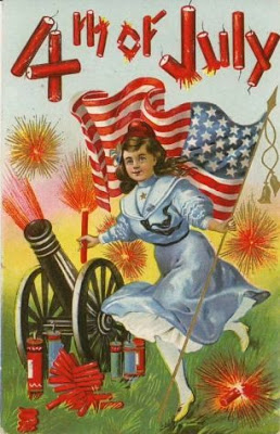 Vintage 4th of July postcard image - girl with cannon