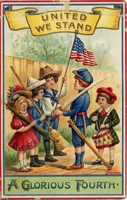 Vintage 4th of July postcard image - children's parade