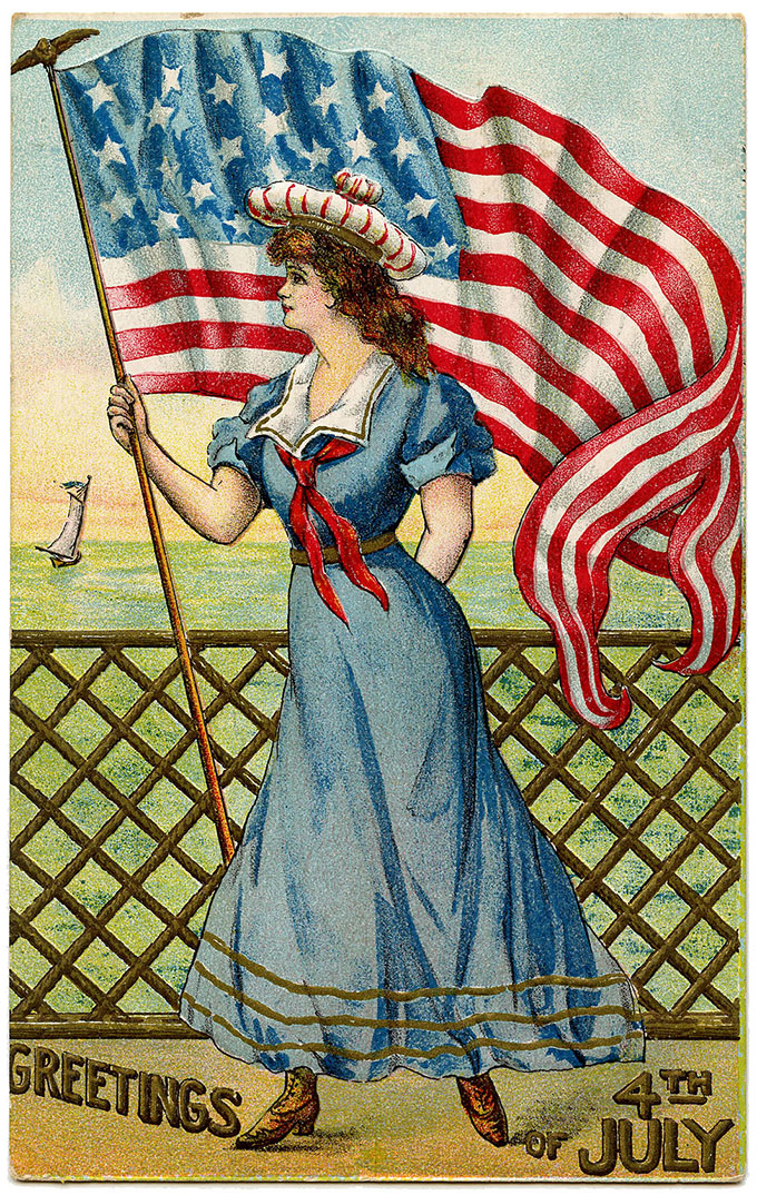 Vintage 4th of July postcard image - sailor woman with flag on boat