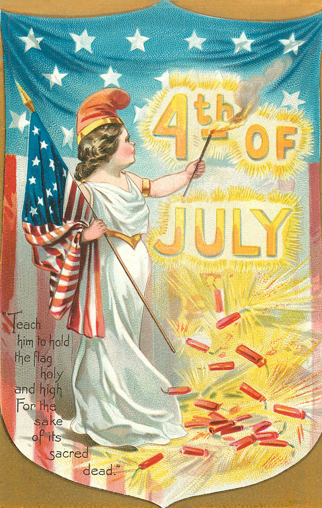 vintage 4th of July postcard - woman with firecrackers