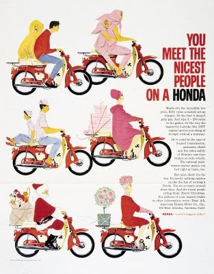 Vintage advertisement for 1960's - You meet the nicest people on a Honda