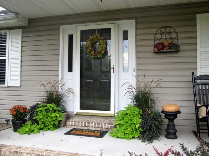 Fall front porch house of hawthornes for Planter ideas for front of house