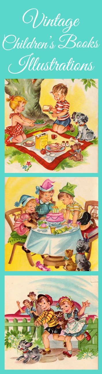 Fun FREE printable vintage children's books illustrations. These are great for crafts or even to just print out and frame!