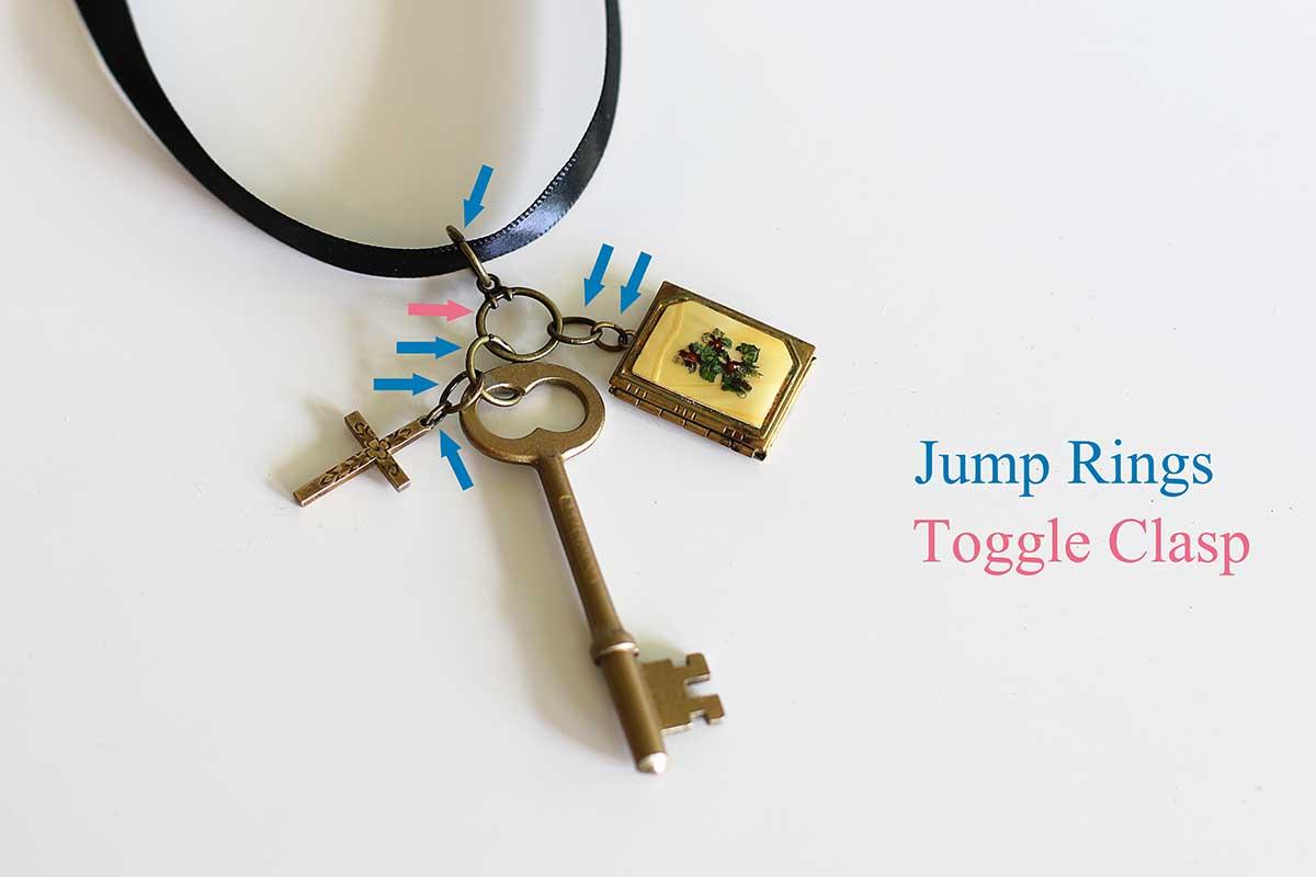 Foto mostrando onde os anéis de salto e onde os fechos de alternância foram usados no colar.