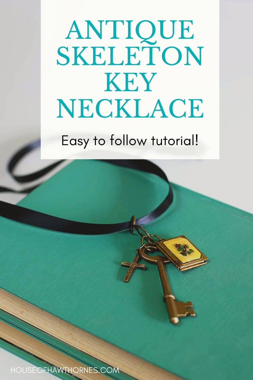 Imagem do Pinterest para tutorial de colar de chave de esqueleto antigo