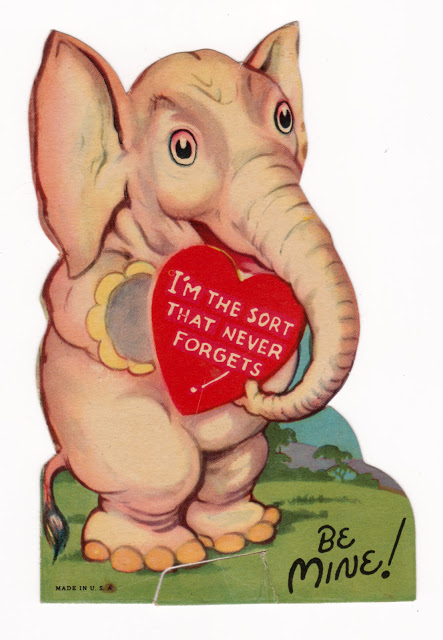Vintage elephant Valentine