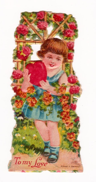 Vintage Valentine - little girl with rose arbor