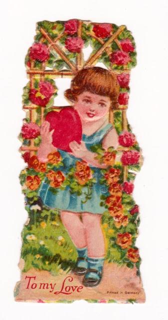 Vintage Valentine - little girl with rose arbor