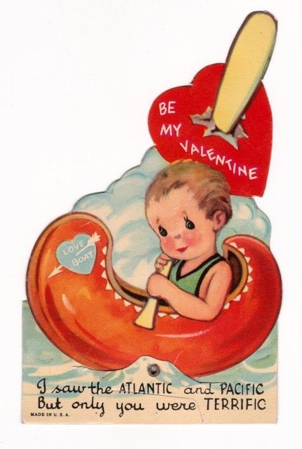 Vintage child's classroom Valentine with boy in canoe