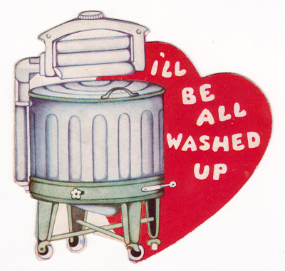 Vintage child's classroom Valentine with washing machine
