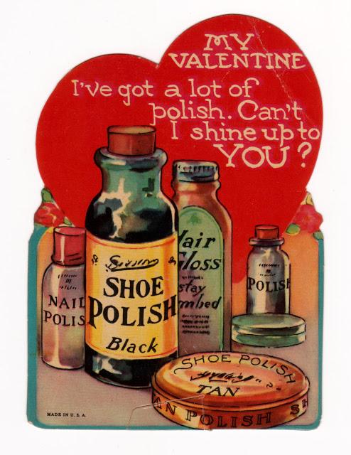 Strange vintage Valentine with shoe polish