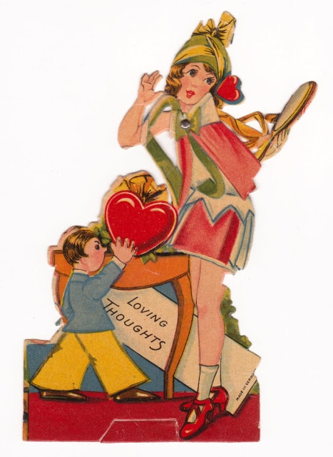 Vintage child's classroom Valentine with flapper girl