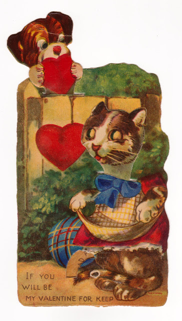 Vintage mechanical Valentine with cats or kittens