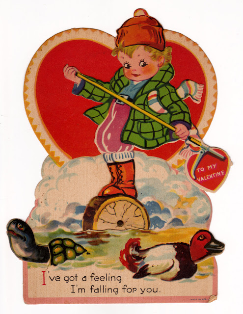 Vintage child's classroom Valentine with lumberjack
