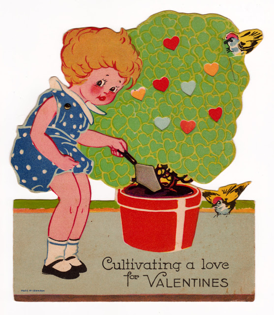 Vintage mechanical Valentine with garden theme