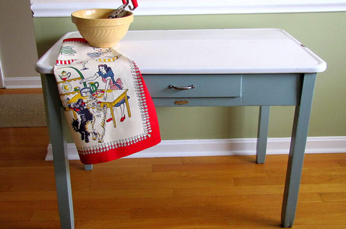 How To Update A Vintage Enamel Top Table