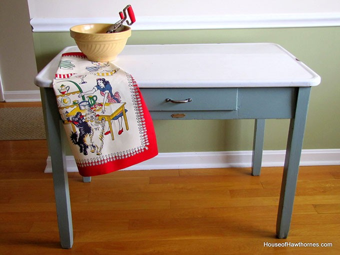 A DIY project with heart. How I rescued and updated my mom's vintage enamel topped table. It looked pretty grungy BEFORE, but the AFTER looks so much better :)