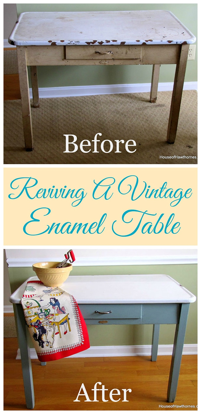 Enamel top kitchen table - How I Rescued And Updated My Mom S Vintage Enamel Topped