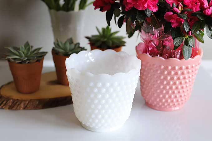 White hobnail Fire King planter