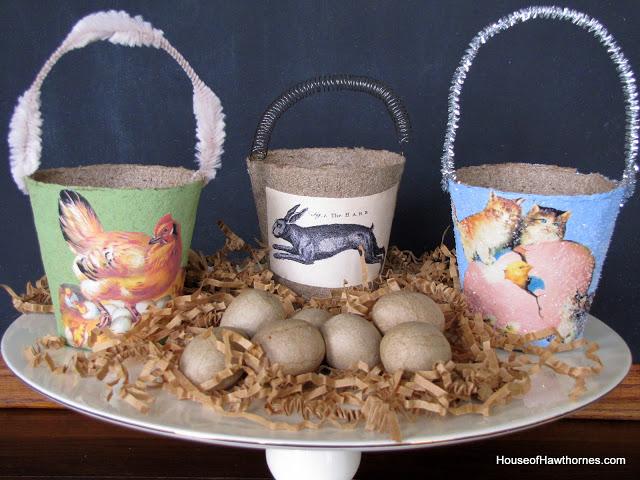 Super cute DIY decorative peat pot Easter baskets