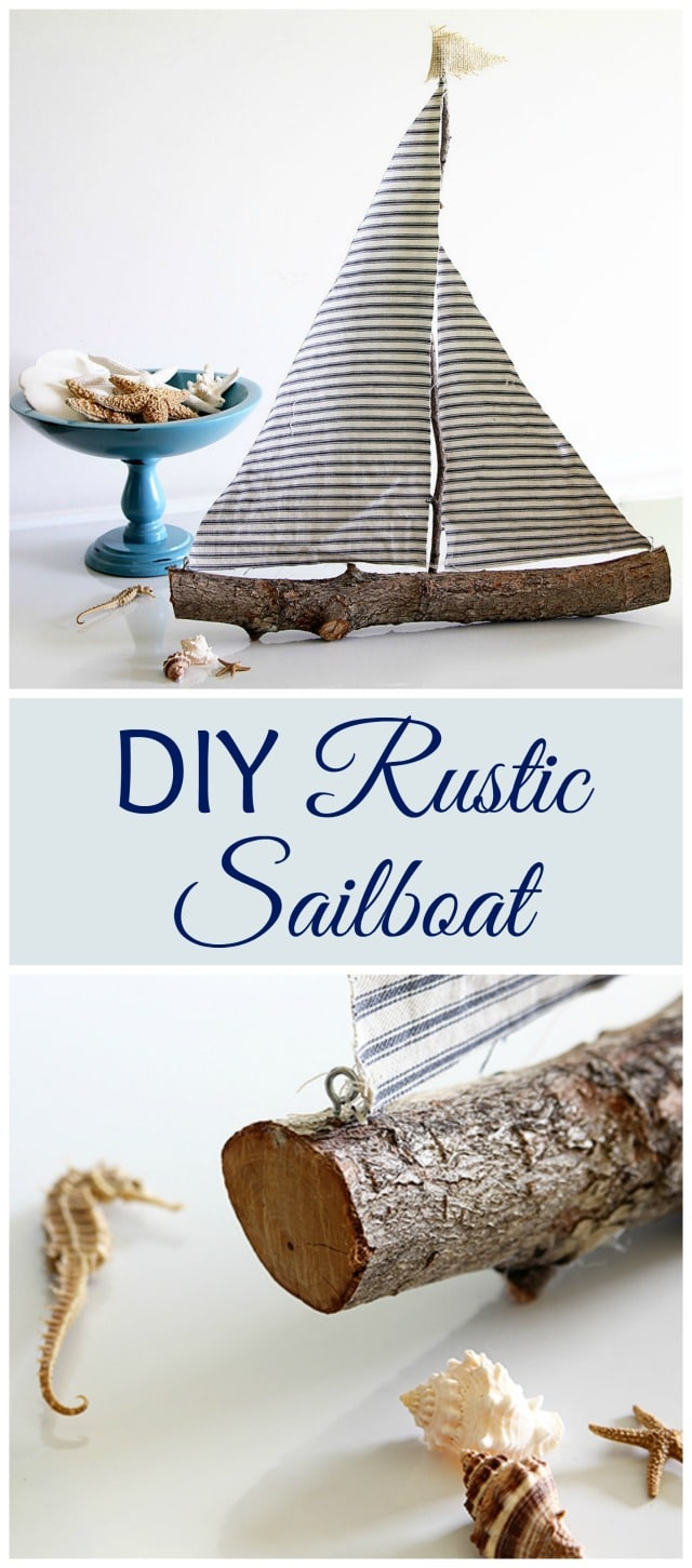 Quick and easy DIY rustic sailboat made from a tree branch - cool idea for a Nautical Nursery or Coastal Decor!