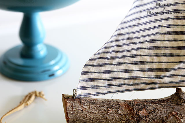 Quick and easy DIY rustic sailboat made from tree branch