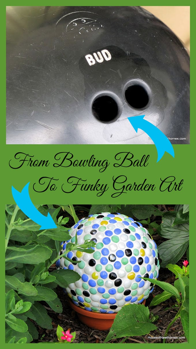DIY yard art for your garden made from a bowling ball. Great upcycle project!