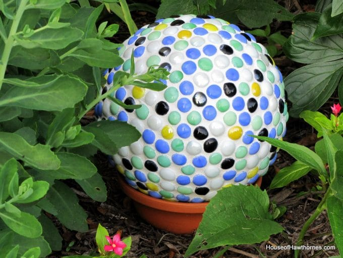 bowling ball with mosaic tiles for the garden