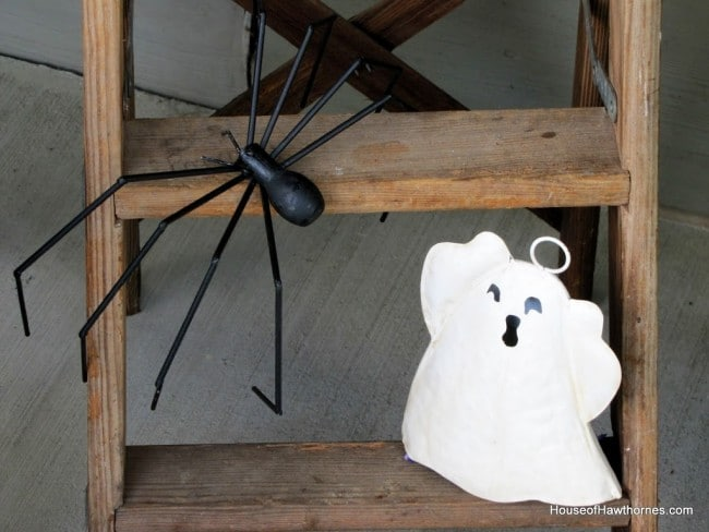 A step ladder decorated for Halloween