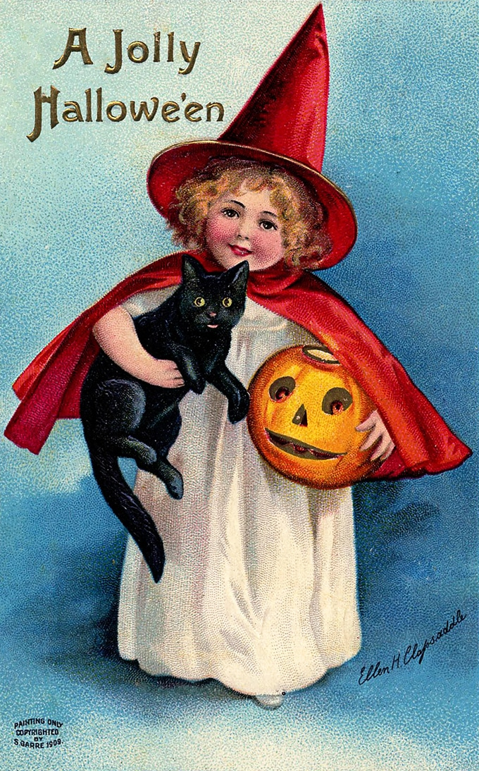 Vintage Clapsaddle Halloween postcard - little witch and black cat