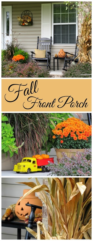 Fun fall front porch decor using traditional cornstalks, Indian corn, gourds and mums along with the unexpected - a vintage toy truck loaded with pumpkins.