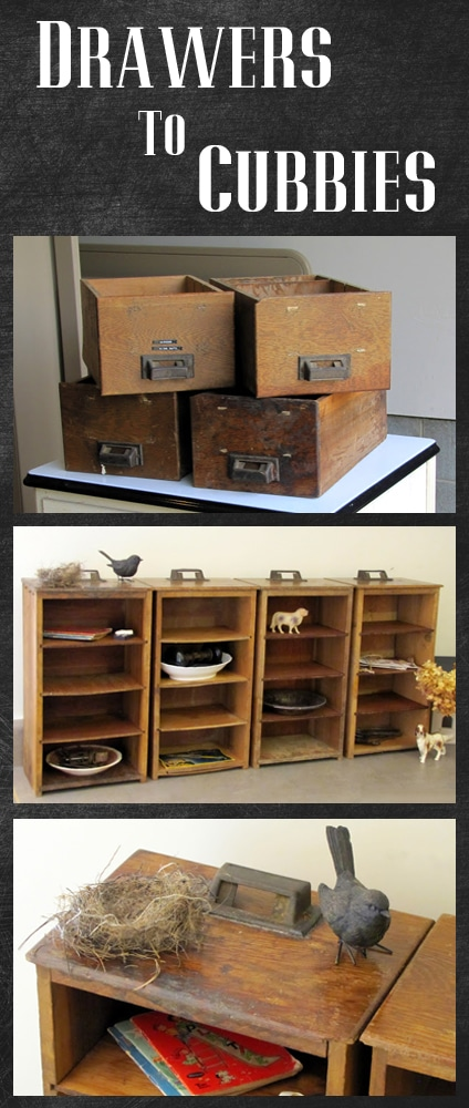 Thrift store drawers turned into Pottery Barn style cubbies - super easy DIY project.