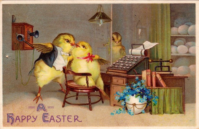 Easter chicks working in an office - super cute vintage Easter postcards and printables for your spring DIY projects and crafts!
