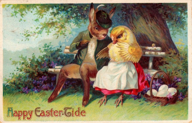 Easter bunny and chick courting - super cute vintage Easter postcards and printables for your spring DIY projects and crafts!