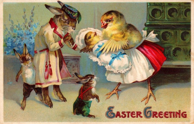 Easter bunny and chick with babies - super cute vintage Easter postcards and printables for your spring DIY projects and crafts!