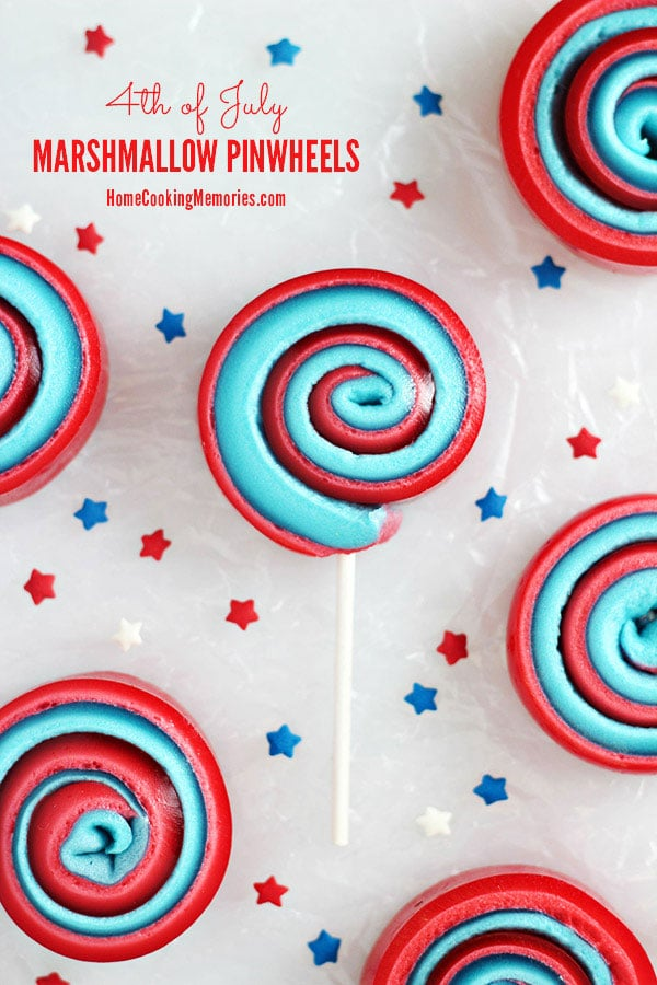 red white and blue pinwheels made with marshmallows for 4th of July