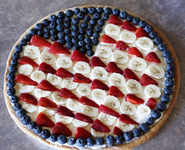 Flag fruit pizza for the 4th of July