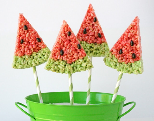 Watermelon Rice Krispie treats for summer picnics