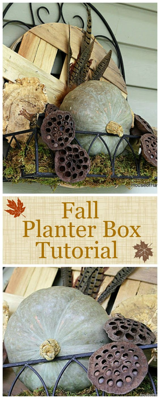 DIY tutorial to make a fall planter box with natural elements found at craft stores. A great alternative to a traditional fall wreath for your front door!
