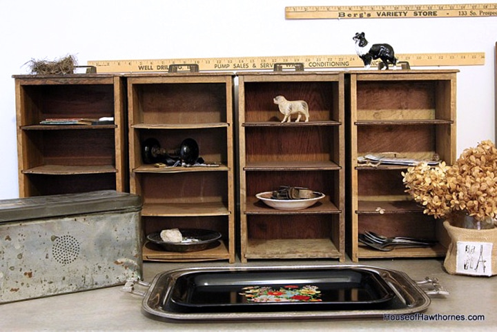 Office cubbies made from old wooden drawers.