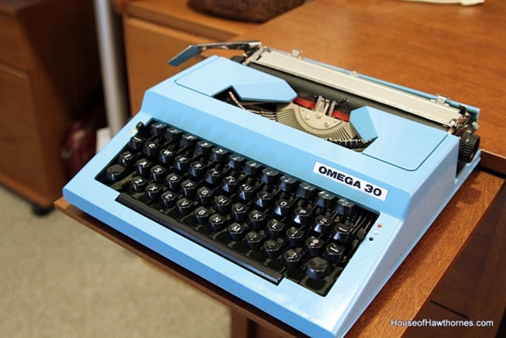Vintage blue Omega 30 typewriter.