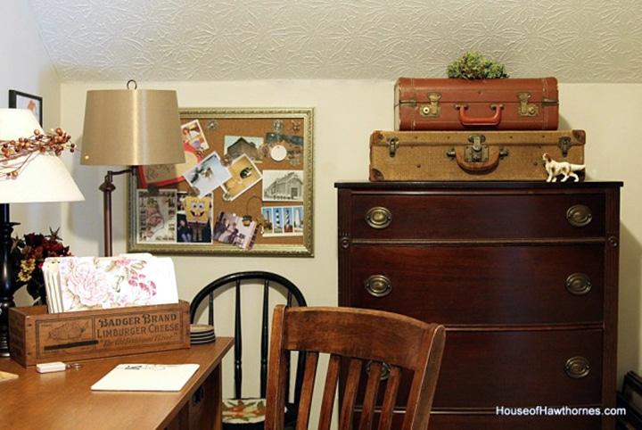 Vintage style office storage ideas.