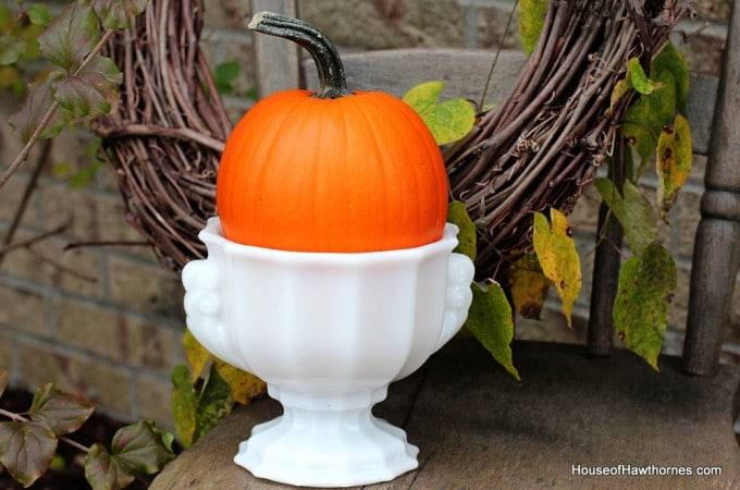 Orange Pumpkins And Vintage Milkglass