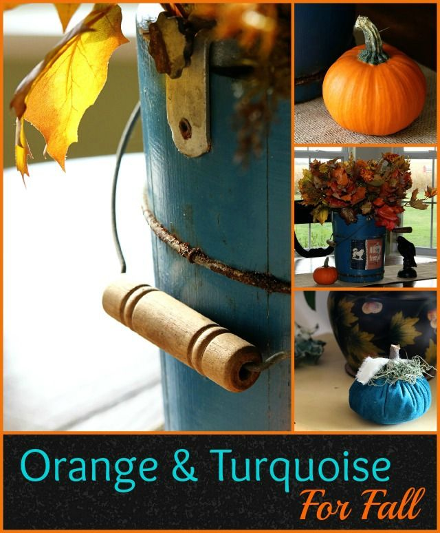 Orange and turquoise for fall decor are a perfect color combo.  I mean, Howard Johnson made it work for all those years, so why not!