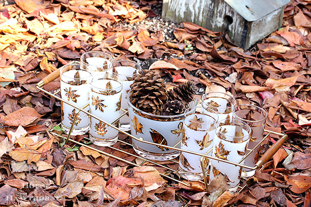 Vintage Libby Golden Foliage glassware - the perfect glassware for your Thanksgiving table decor
