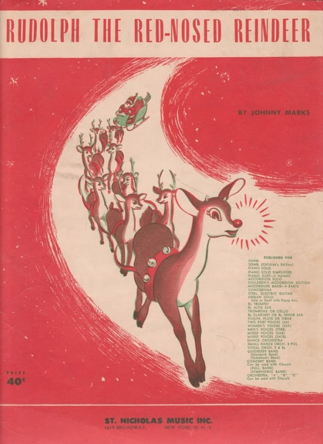 FREE printable Rudolph The Red Nosed Reindeer vintage sheet music. A cool retro look for Christmas DIY and craft projects or simply printed out and framed.